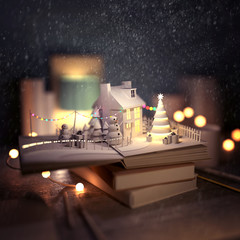 Christmas story pop-up book opening with a winter scene with a cosy house, snowmen, christmas trees and decorations. 3D Illustration