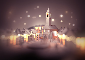 A festive christmas town centre with a church on christmas eve with glowing street lights and decorations. 3D illustration.