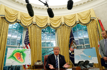 U.S. President Donald Trump holds an Oval Office meeting on preparations for hurricane Florence at the White House in Washington