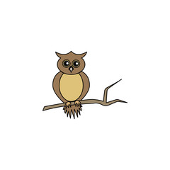 owl colored illustration. Element of Halloween for mobile concept and web apps. Colored owl illustration can be used for web and mobile