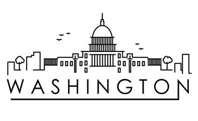 Outline Washington DC USA City Skyline with Modern Buildings Isolated. Vector Illustration. Washington DC Cityscape with Landmarks.
