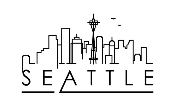 Linear Seattle City Silhouette with Typographic Design