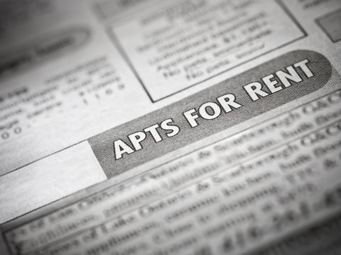 Apartment rental listing in a local flyer or newspaper
