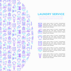 Laundry service concept with thin line icons: washing machine, spin cycle, drying machine, fabric softener, iron, handwash, ozonation, repair. Vector illustration for banner, print media template.