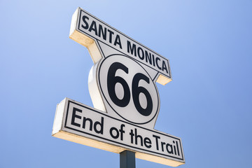 Fotobehang Route 66 Sign marking the ending point of Route 66 in Santa Monica California USA