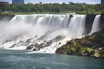 Fresh water flows over the American Falls in Niagara Falls, Ontario, Canada