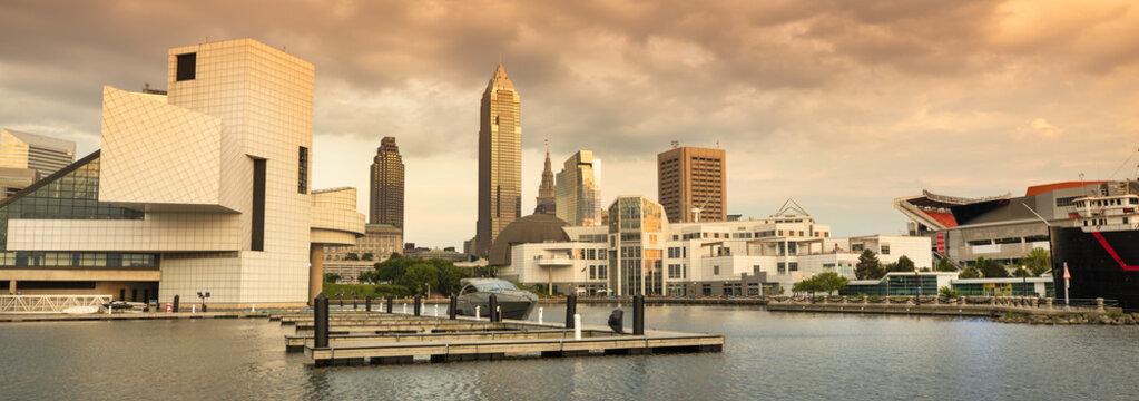 Marina and downtown skyline panorama in Cleveland Ohio USA