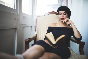 Young woman book reading