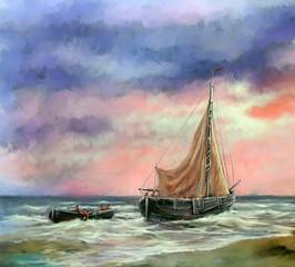 Digital paintings sea landscape. Fisherman, boats. Fine art.