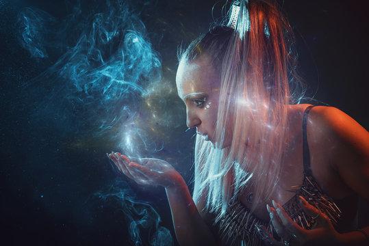 Strong tribal woman warrior, moon goddess or a priestess