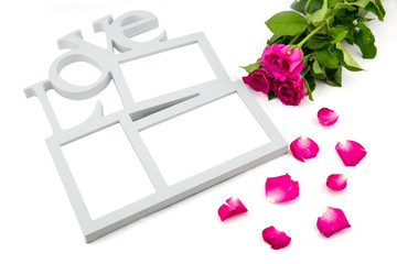 love frame, rose, concept valentine day on white background