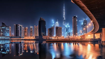 Dubai city by night Wall mural