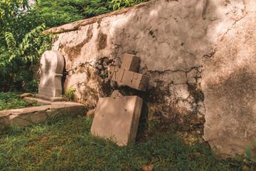 RIP gravestone in graveyard