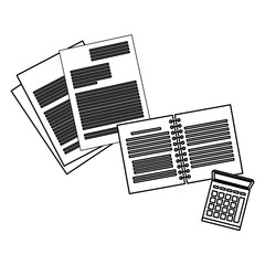 Documents and notebook with calculator in black and white
