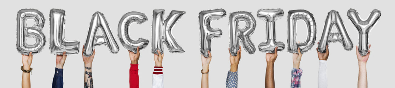 Silver gray alphabet balloons forming the word black friday