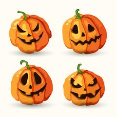 Halloween cartoon smiling spooky face pumpkins set