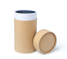 Brown empty paper tube isolated on white background