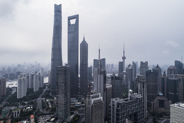 aerial view of buildings of Shanghai city in a stormy day