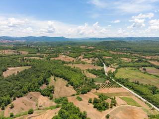 Empty crop field next to mountain