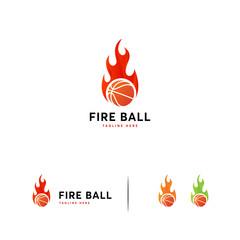 Fire Basket Ball logo designs template, Hot Shot logo template
