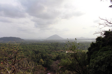 the hills or mountain range on the way to Dambulla Cave.
