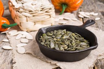 Pumpkin seeds in a pan