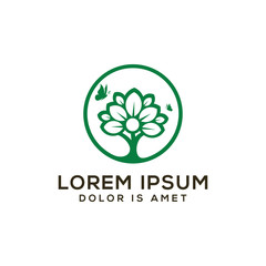 tree logo design, bonsai with butterfly vector illustration