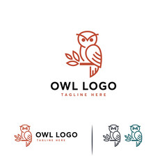 Simple Line Owl logo designs concept vector, Luxury Perching Owl logo symbol