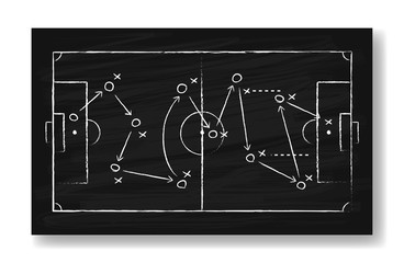 Realistic black board drawing a soccer game strategy. International world championship tournament concept. Vector illustration