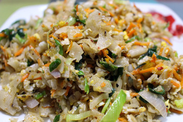 A local dish of Sri Lanka called Kottu (or Roti Kottu)