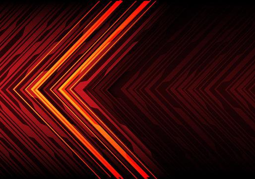 Abstract orange light black line arrow on red polygon futuristic direction design modern technology background vector illustration.