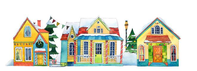 Watercolor Winter Street Village City Houses
