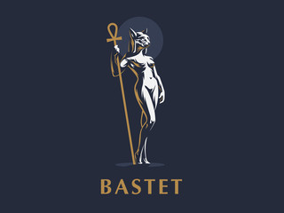 Egyptian goddess Bastet. Vector illustration.