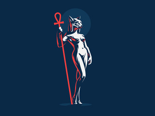 Egyptian goddess Bastet. Vector illustration.