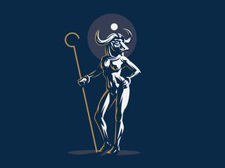 Egyptian goddess Hathor. Vector illustration.