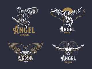 Angel man. Set of vector emblems.