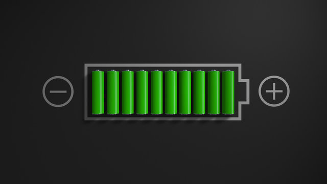 Battery. Battery charge. Illustration of the battery charge.