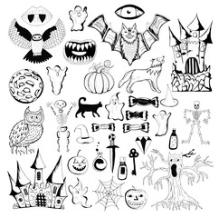Happy Halloween Magic collection, creepy and spooky elements for halloween decorations, doodle silhouettes, sketch, icon, sticker.