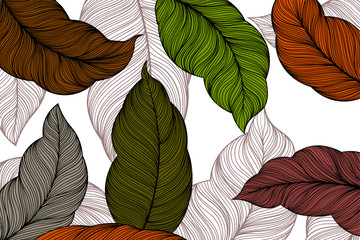 Colors leaves nature scene vector abstract wallpaper backgrounds