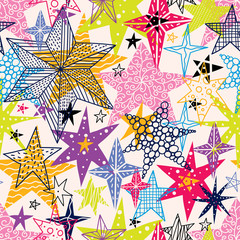 Colorful stars. Seamless vector pattern. Seamless pattern can be used for wallpaper, pattern fills, web page background, surface textures.