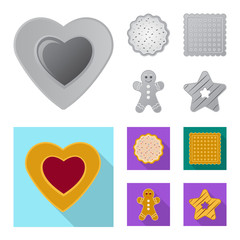 Isolated object of biscuit and bake icon. Collection of biscuit and chocolate vector icon for stock.