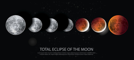 Total Eclipse of the Moon Vector illustration