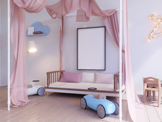 Children's room with light bulbs 3d illustration