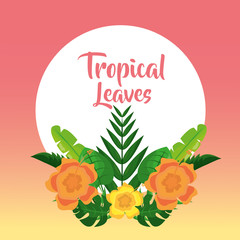tropical leaves banner template fashion decoration