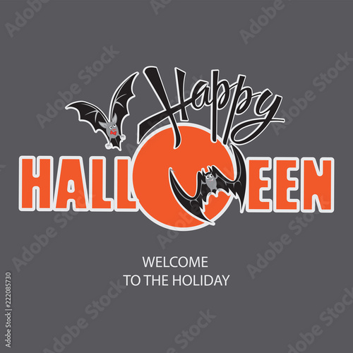 happy halloween invitation with bats design of the message banner