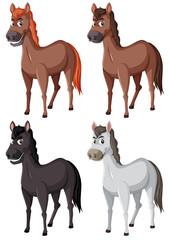 Set of cartoon horses