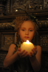 girl child with candles, vintage photo,