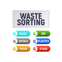 Waste sorting. Separate the recycle garbage. Diagram and infographics. Vector illustration.