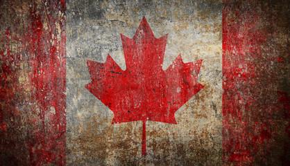 Old grunge Canada flag