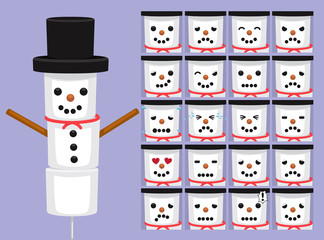 Cute Marshmallow Snowman Cartoon Emotion faces Vector Illustration
